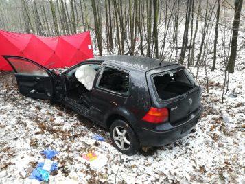 wypadek Mosina - Sowiniec wrak VW