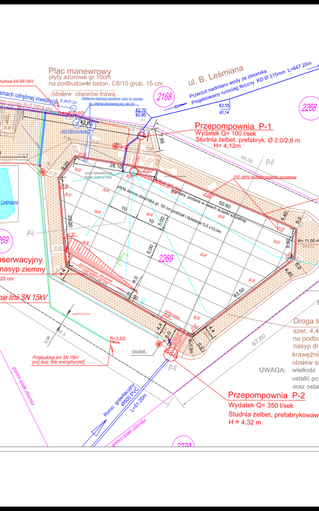 projekt zbiornika - basenu retencyjnego