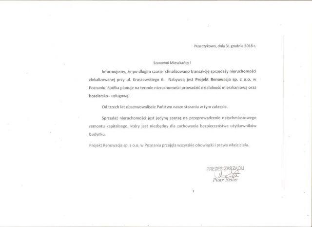 informacja dla mieszkańców bloku