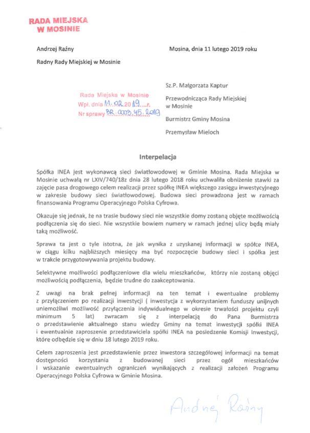 interpelacja radnego Andrzeja Raźnego