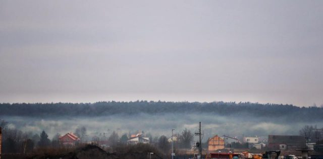 Krosinko, widok z Mosiny - smog