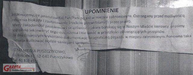 Fałszywe upomnienie Straży Miejskiej znalezione w Puszczykowie