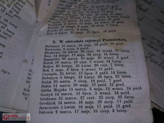 dodatek do kalendarza z 1865 roku
