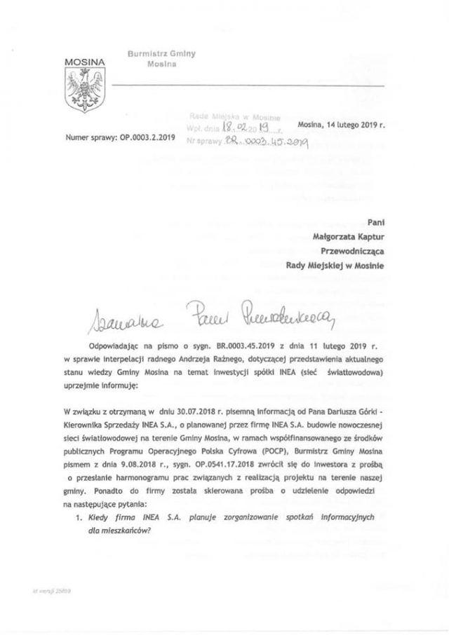 pismo burmistrza gminy Mosina w sprawie światłowodu