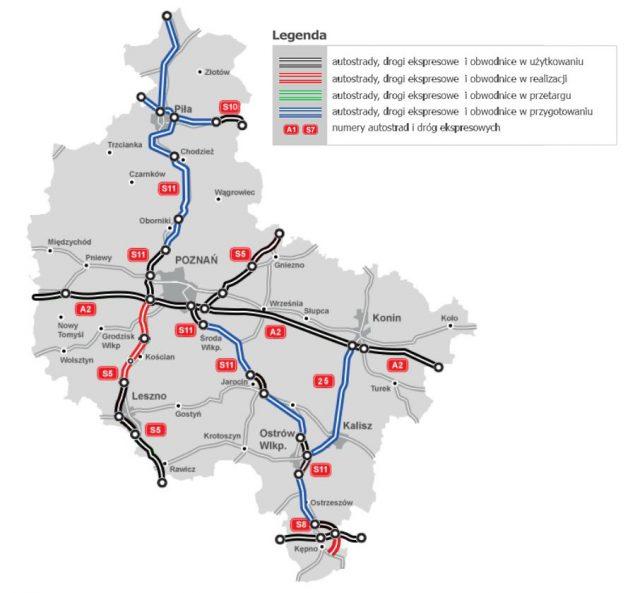 Mapa Stanu Budowy Dróg - wielkopolskie