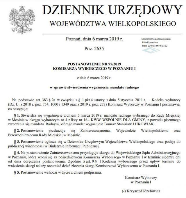 Postanowienie Komisarza Wyborczego w Poznaniu