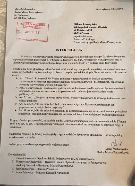 interpelacja radnej zadresowanana do Wielkopolskiego Kuratora Oświaty, Elżbiety Leszczyńskiej