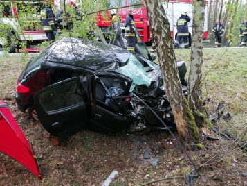 wypadek fot. OSP Kórnik oraz M. Czubak TZS