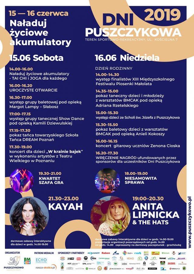 Dni Puszczykowa 2019 - plakat, program