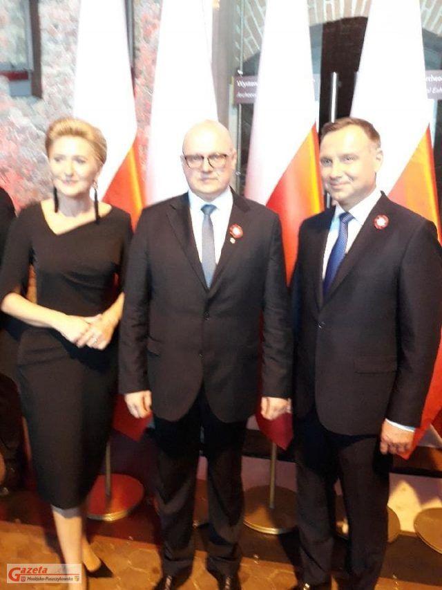 Agata i Andrzej Duda w towarzystwie Burmistrza Mosiny, Przemysława Mielocha