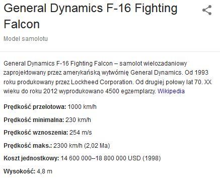 Lockheed Martin F-16C Fighting Falcon - dane techniczne