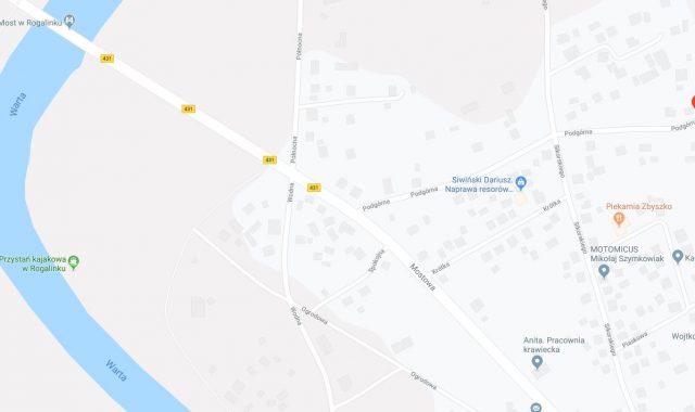 Podgórna i Mostowa, Rogalinek, mapy Google