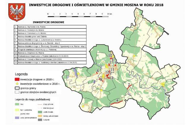 inwestycje drogowe i oświetleniowe w gminie Mosina