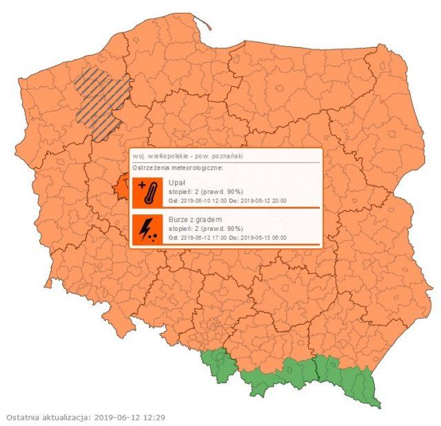 ostrzeżenie IMGW o burzach (12.06.19)