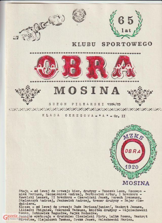 65 lat Klubu Sportowego Obra Mosina (obecnie KS 1920 Mosina)