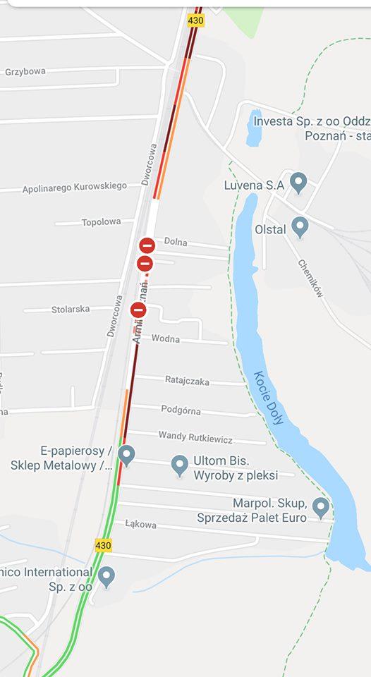 wypadek w Luboniu - lokalizacja