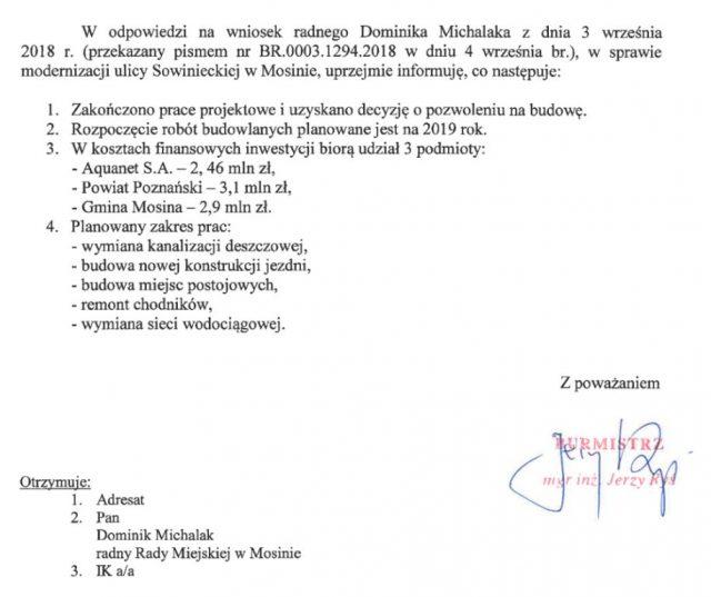 Odpowiedź na wniosek radnego Dominika Michalaka z 17 sierpnia 2018 roku