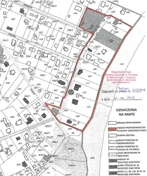 plan Puszczykowa z zaznaczoną strefą ochrony konserwatorskiej objętej prowadzonym postępowaniem administracyjnym o wpis do rejestru zabytków