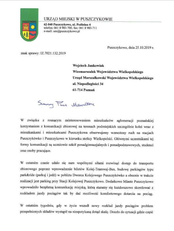 List Burmistrza Puszczykowa do Wicemarszałka Województwa Wielkopolskiego Wojciecha Jankowiaka