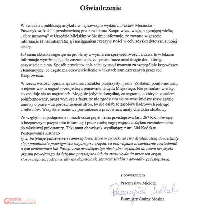 oświadczenie burmistrza Przemysława Mielocha