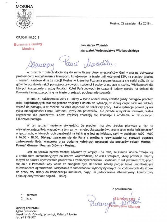 Pismo Burmistrza Gminy Mosina do Marszałka