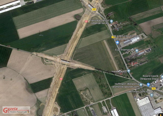 wiadukt WD-10 w okolicy Stęszewa na mapach Google