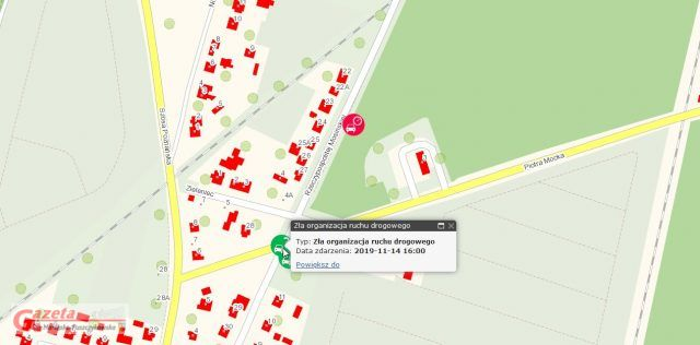 Krajowa mapa zagrożeń -ulica Piotra Mocka
