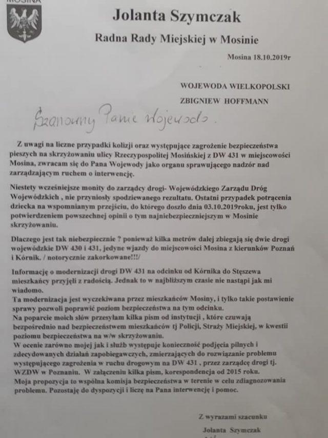 pismo do wojewody w sprawie bezpieczeństwa w gminie Mosina