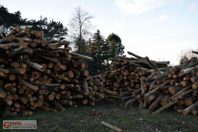 niezabezpieczone drewno, składowane na działce, na której miała powstać pływalnia