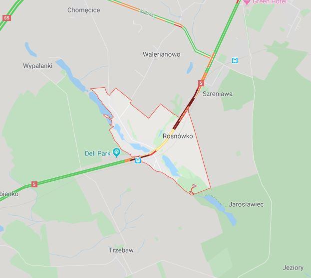 wieś Rosnówko na DK5 - mapa