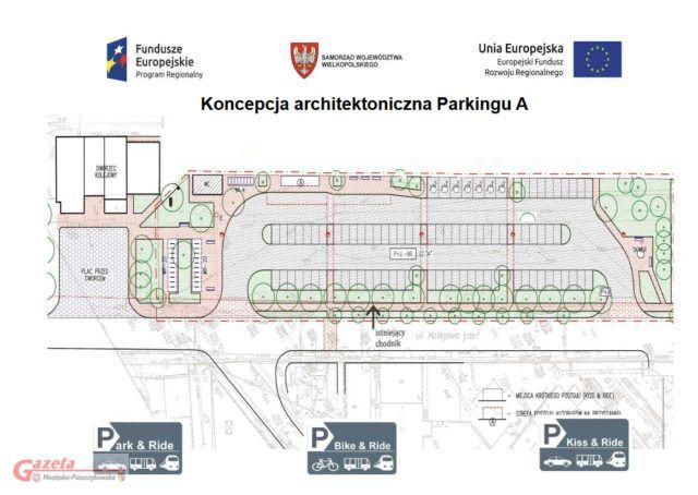 koncepcja architektoniczna jednego z trzech parkingów - Zintegrowany węzeł przesiadkowy w Czempiniu
