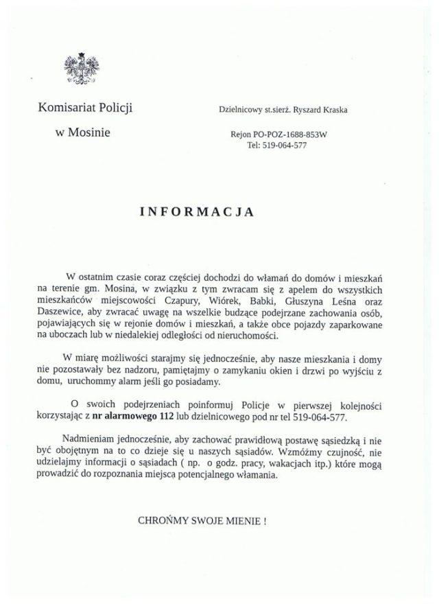 KP w Mosinie - informacja dla mieszkańców w związku z plagą włamań
