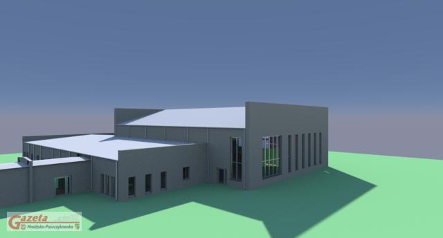 Wizualizacja sali sportowej w Rogalinie; projekt