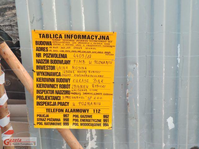 budowa szczelnego zbiornika wód deszczowych w Krośnie - tablica informacyjna
