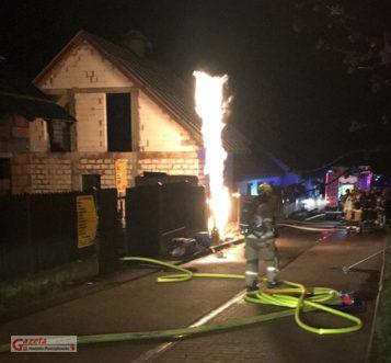 pożar przyłącza gazowego w Mosinie