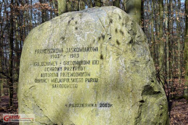 głaz poświęcony Franciszkowi Jaśkowiakowi - Wielkopolski Park Narodowy WPN