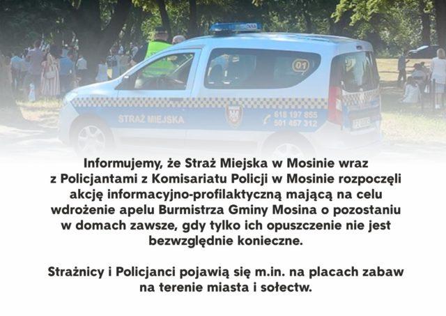 Akcja informacyjna Policji i Straży Miejskiej w Mosinie.