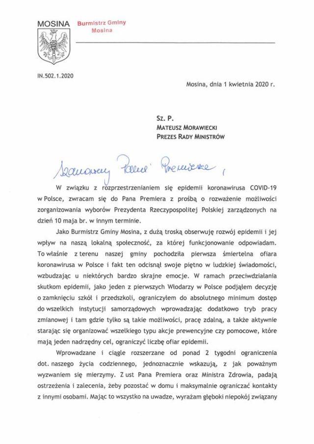 Pismo Przemysława Mielocha