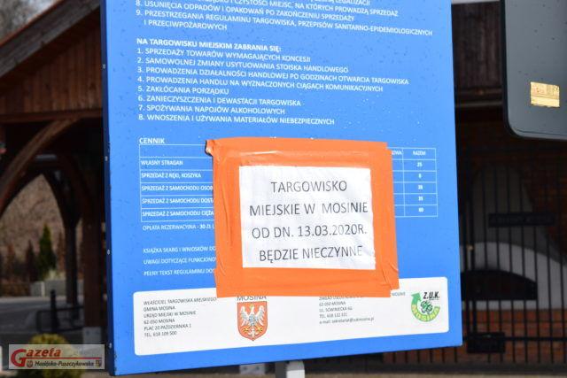 Targowisko w Mosinie jest nieczynne od 13 marca