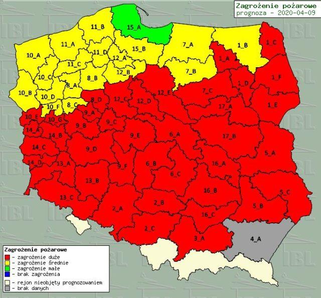 mapa zagrożenia pożarowego (stan na 09.04.2020)