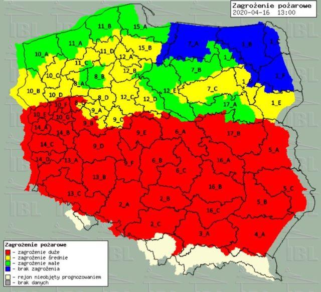 mapa zagrożenia pożarowego (stan na 16.04.2020)
