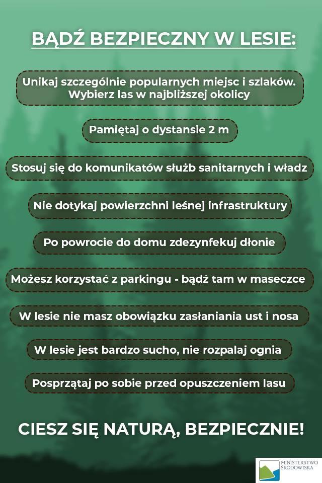 Bądź bezpieczny w lesie - informacja