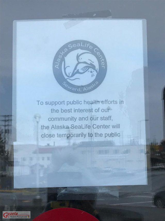zawiadomienie o zamkniętym centrum zwierzyny wodnej na alasce
