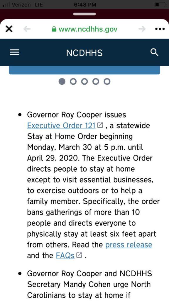 Ogłoszenie gubernatora stanu Karoliny Płn. o nakazie zostawania w domu