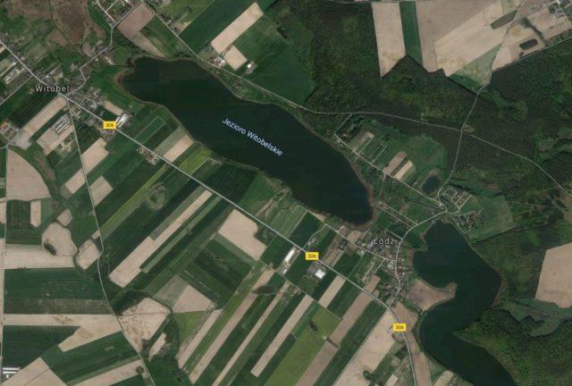 Łódz i Witobel na mapie satelitarnej