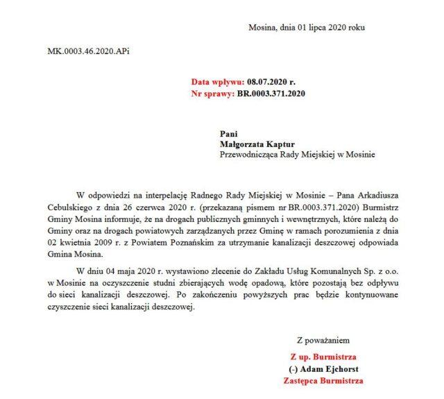 odpowiedź na interpelację radnego Arkadiusza Cebulskiego
