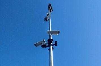 Kamery rozmieszczone przy wieży na Pożegowie