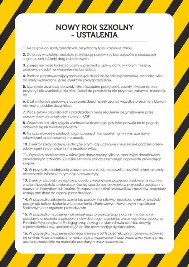 Placówki oświatowe - ustalenia epidemiologiczne