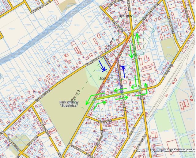 mapa objazdu ulicami Śremską i Kolejową