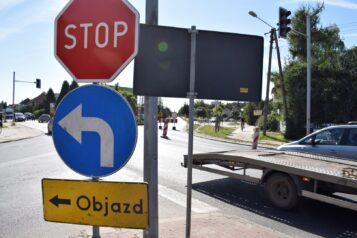 zamknięta ulica Leszczyńska w Mosinie